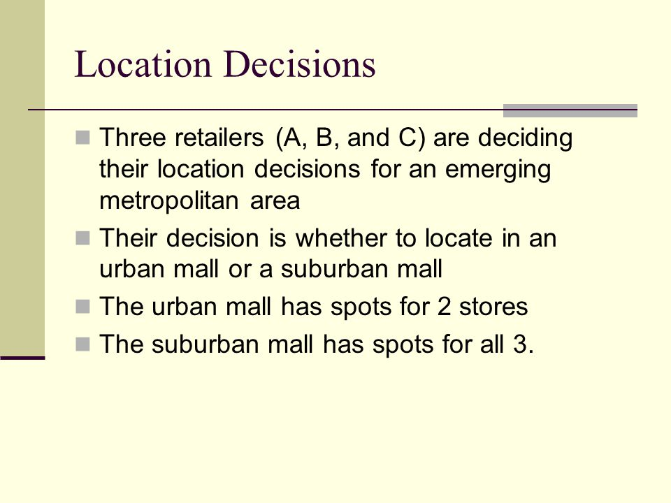 Location Decisions Three retailers (A, B, and C) are deciding their location decisions for an emerging metropolitan area.