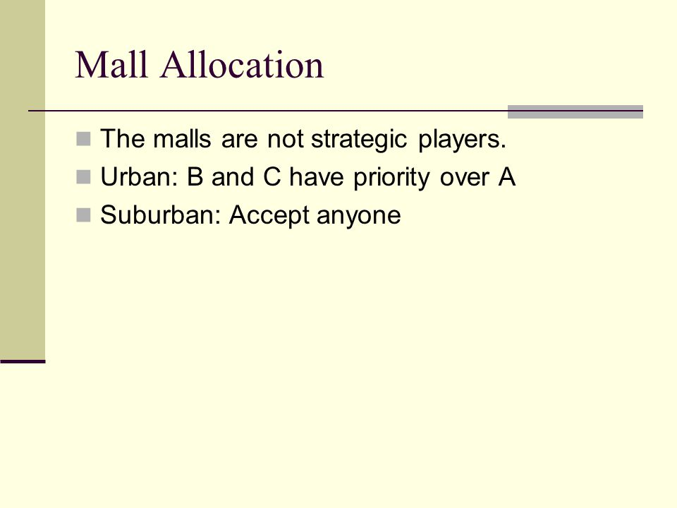 Mall Allocation The malls are not strategic players.