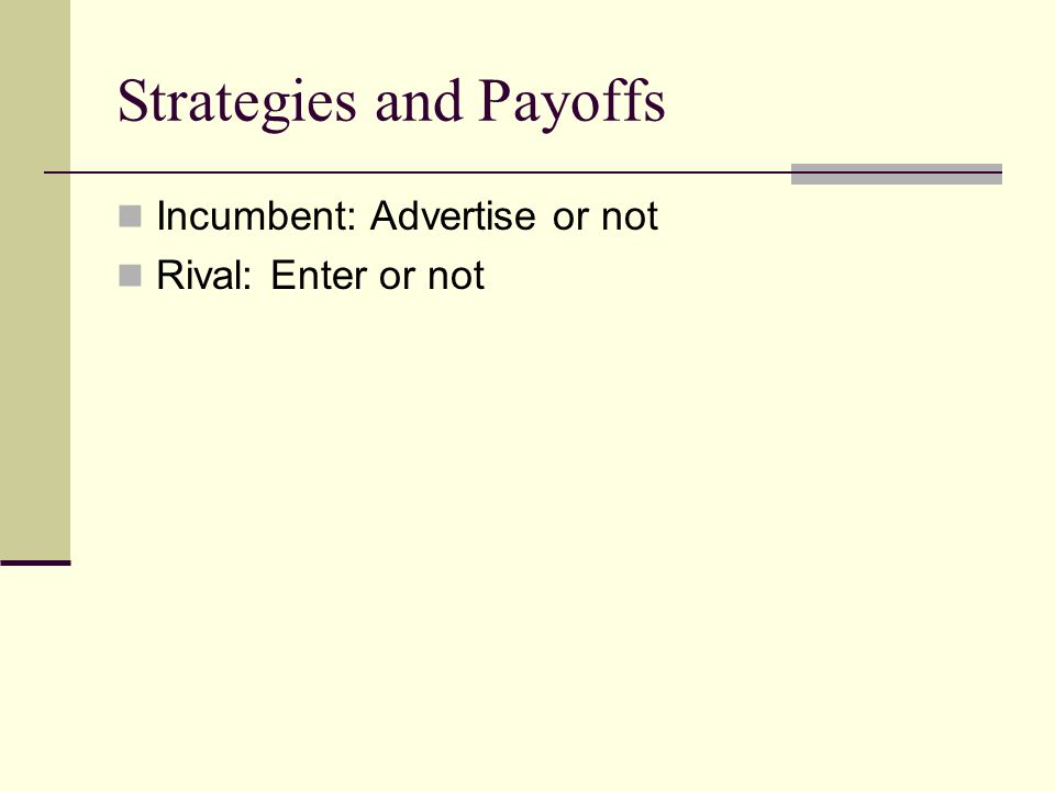 Strategies and Payoffs