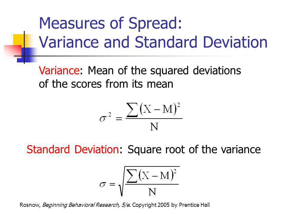 Measures of Spread: Variance and Standard Deviation