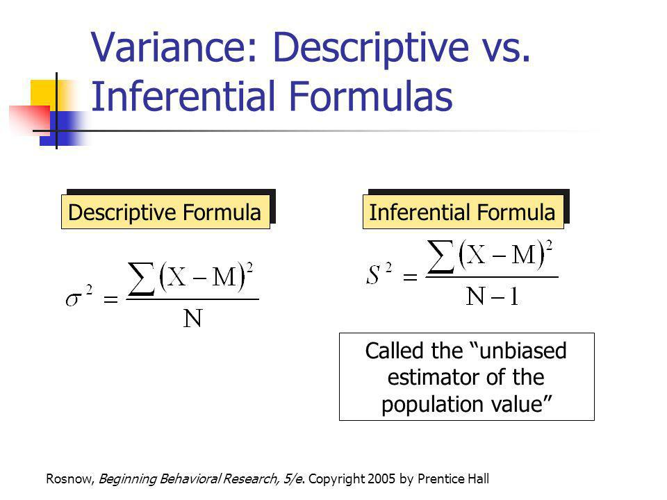 Variance: Descriptive vs. Inferential Formulas