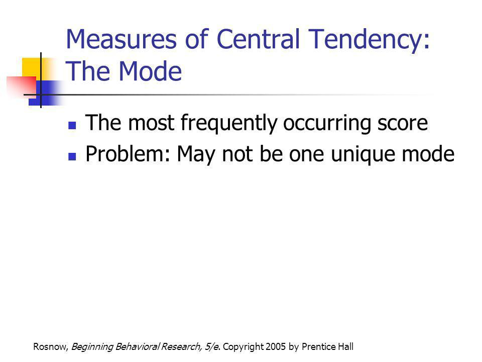 Measures of Central Tendency: The Mode