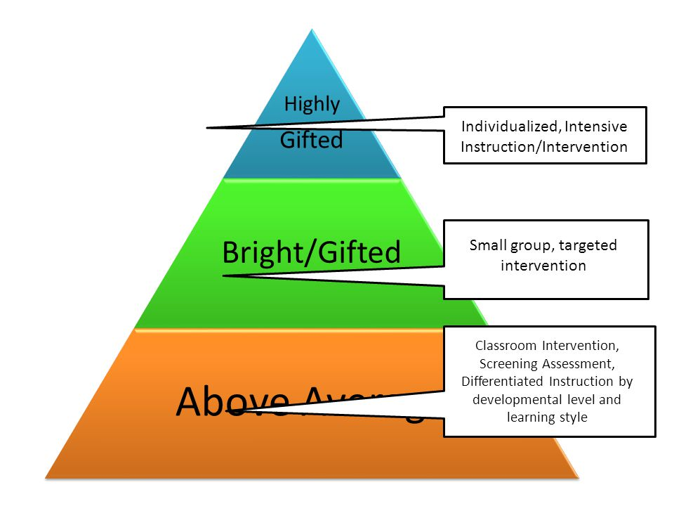 Above Average Bright/Gifted Gifted Highly