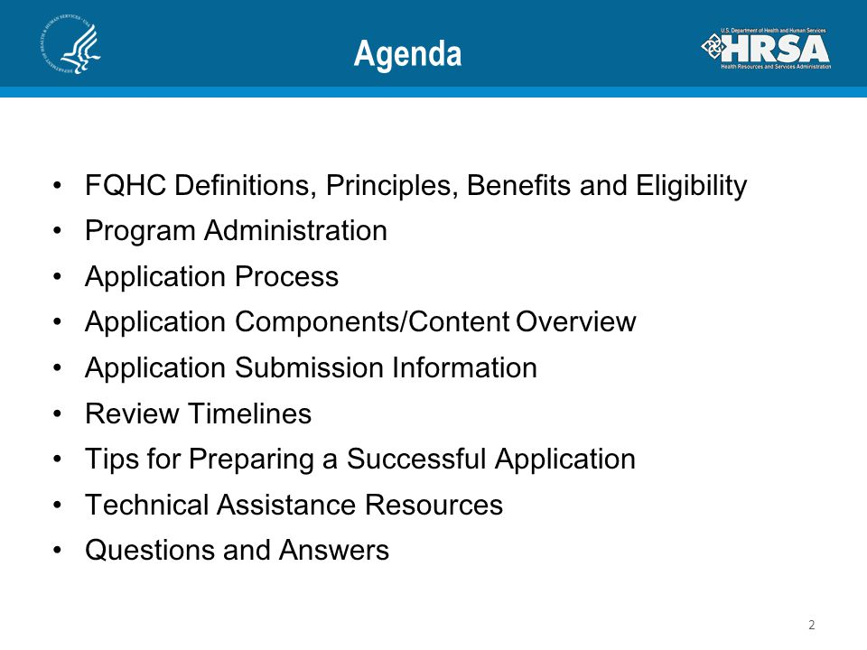 Agenda FQHC Definitions, Principles, Benefits and Eligibility