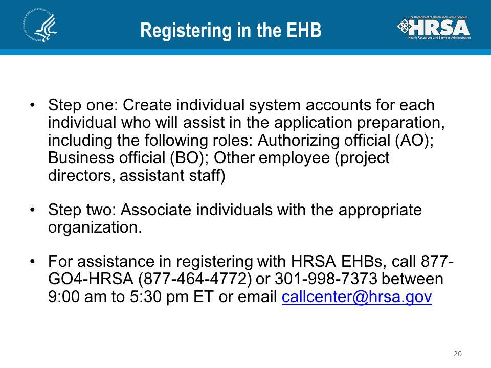 Registering in the EHB