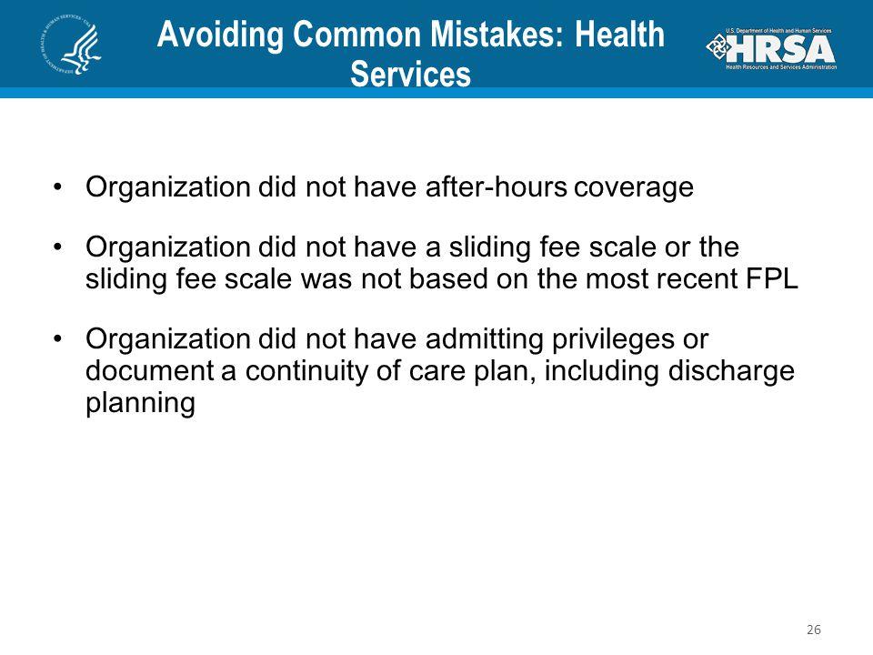 Avoiding Common Mistakes: Health Services