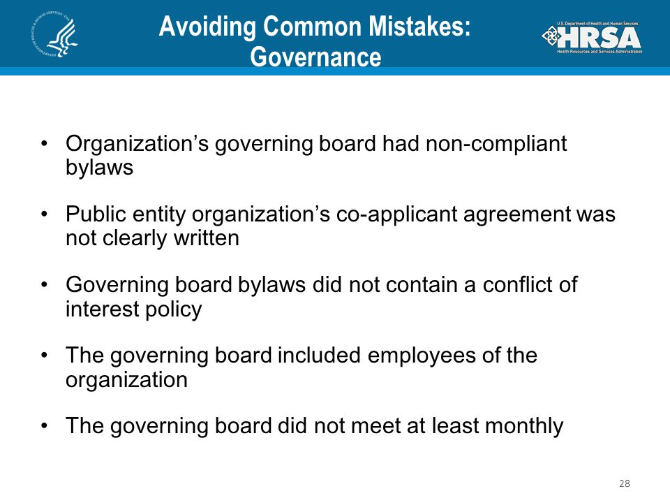 Avoiding Common Mistakes: Governance