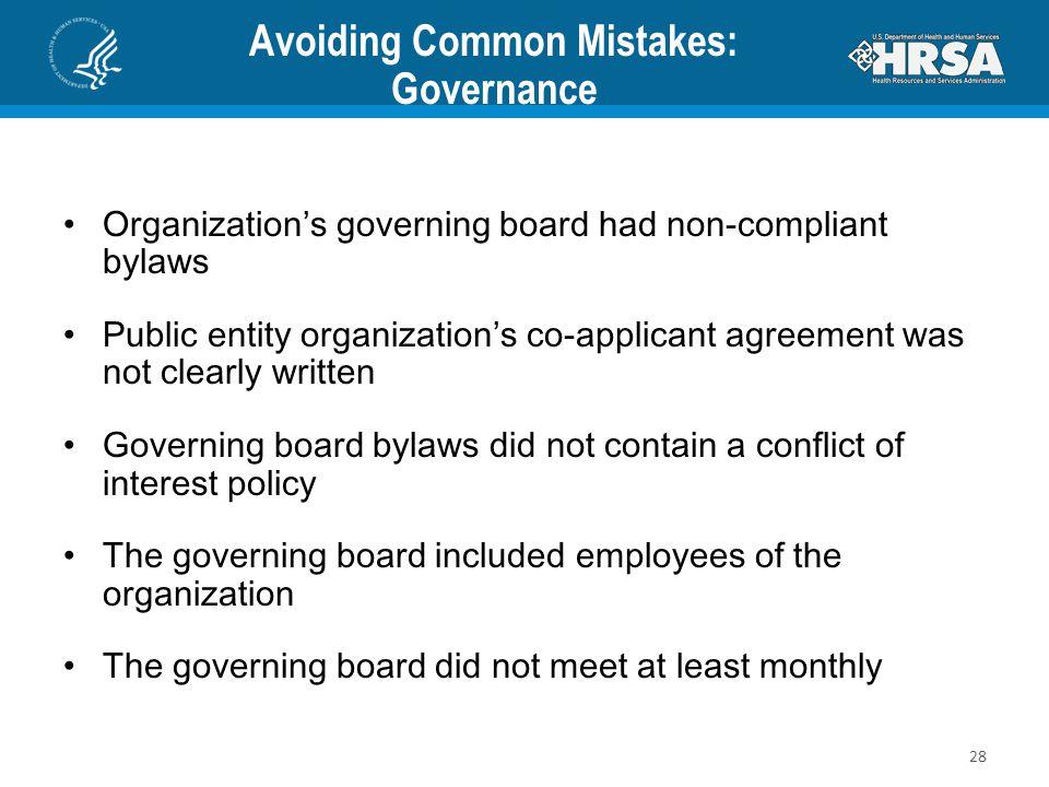 Avoiding Common Mistakes: Governance
