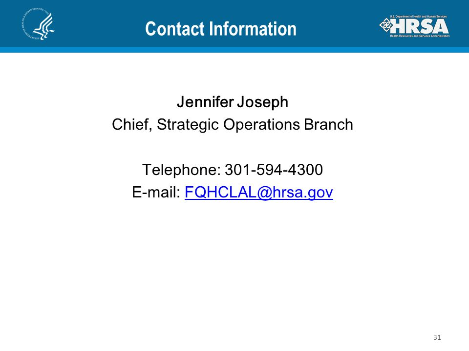 Contact Information Jennifer Joseph. Chief, Strategic Operations Branch. Telephone: 301-594-4300.