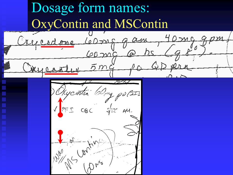 Dosage form names: OxyContin and MSContin