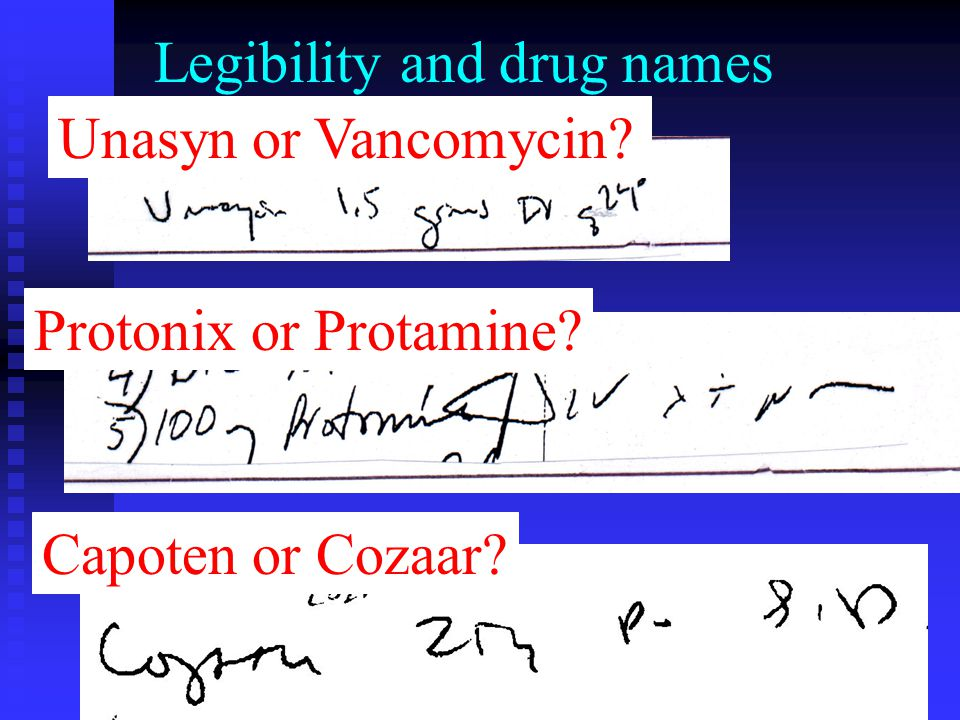 Legibility and drug names