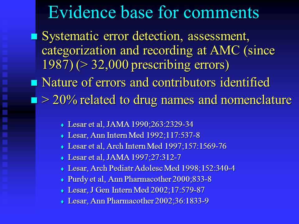 Evidence base for comments