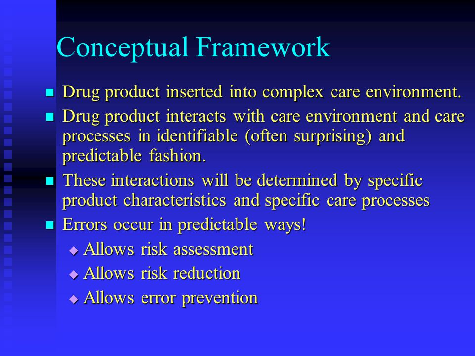 Conceptual Framework Drug product inserted into complex care environment.