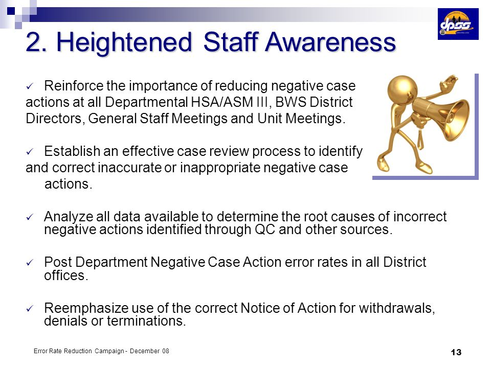 2. Heightened Staff Awareness