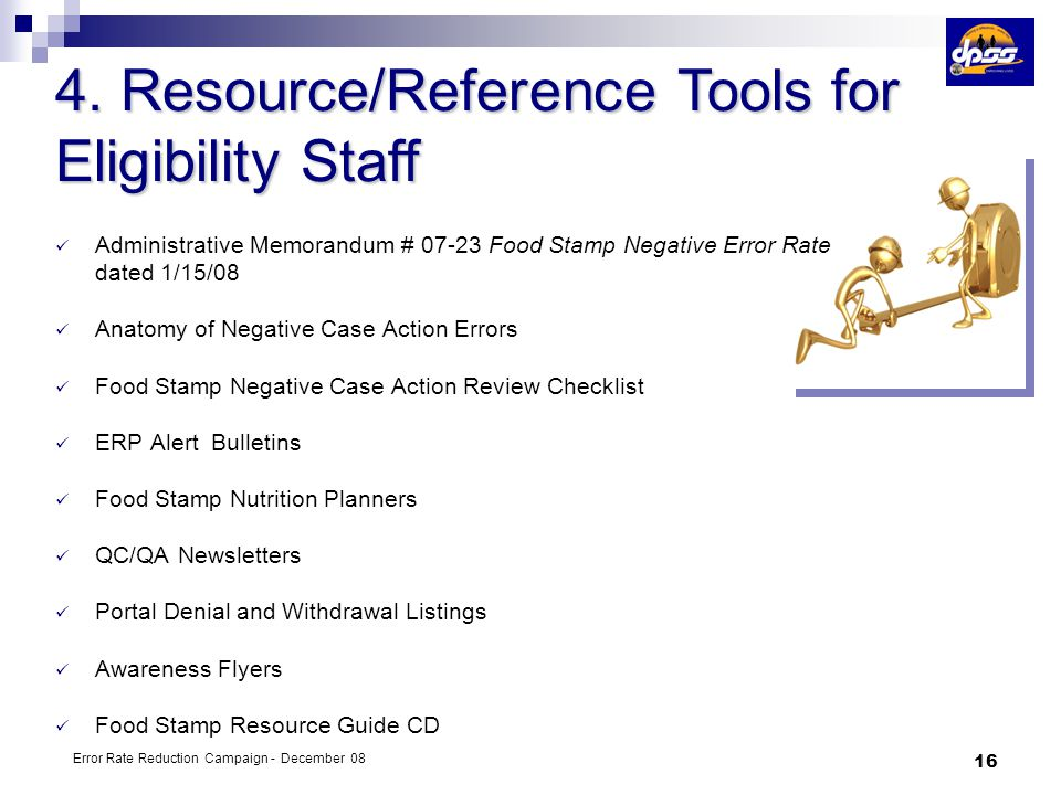 4. Resource/Reference Tools for Eligibility Staff