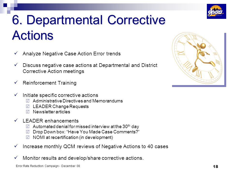 6. Departmental Corrective Actions