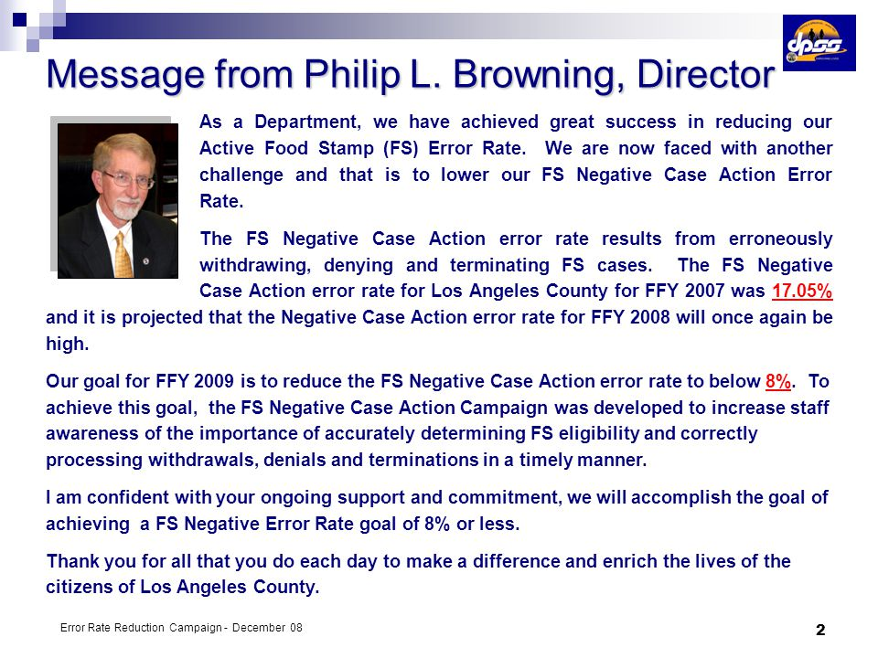 Message from Philip L. Browning, Director
