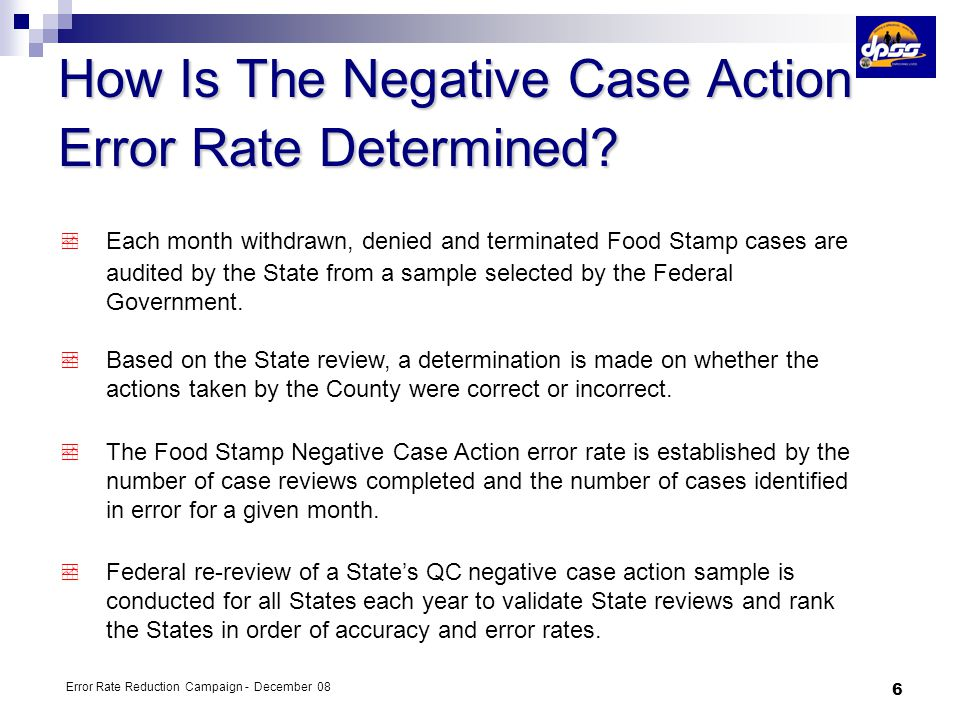 How Is The Negative Case Action Error Rate Determined