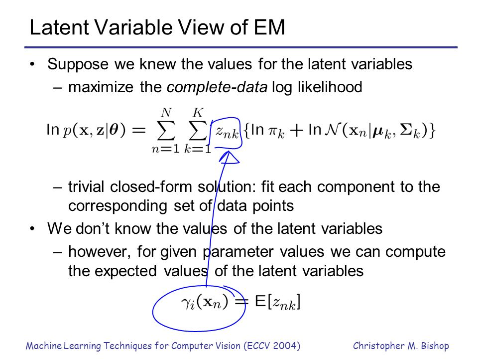 Latent Variable View of EM