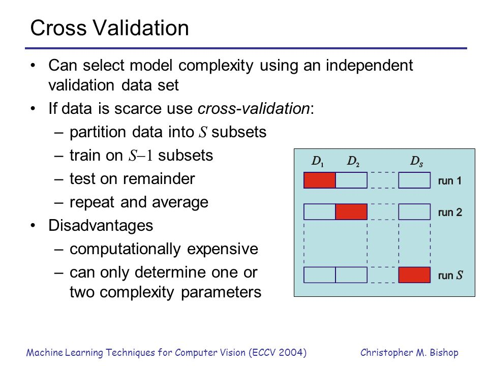 Cross Validation Can select model complexity using an independent validation data set. If data is scarce use cross-validation: