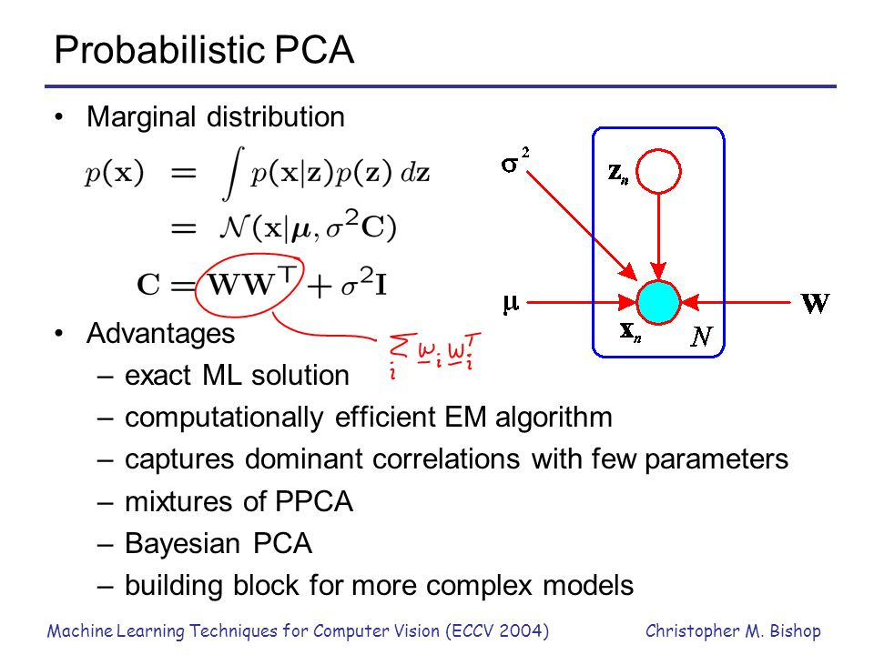 Probabilistic PCA Marginal distribution Advantages exact ML solution