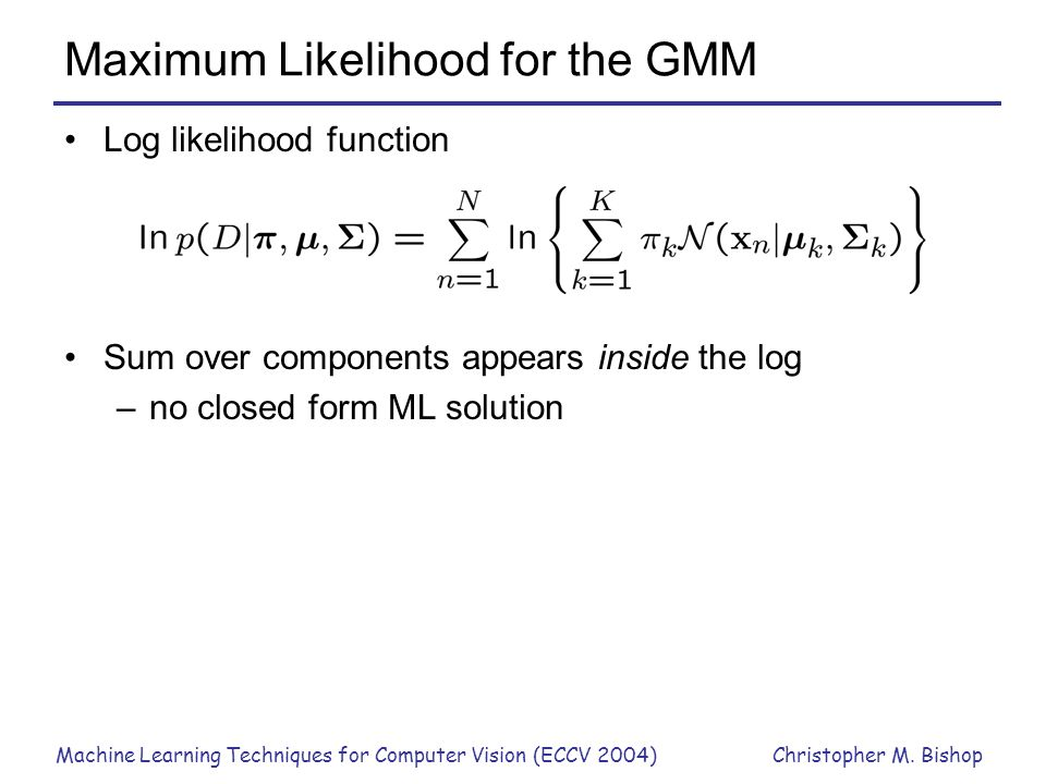 Maximum Likelihood for the GMM