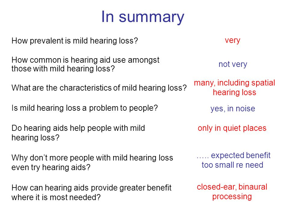 In summary How prevalent is mild hearing loss very
