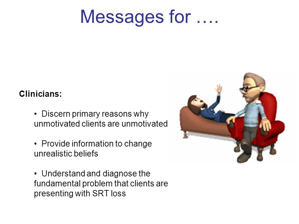 Messages for …. Clinicians: