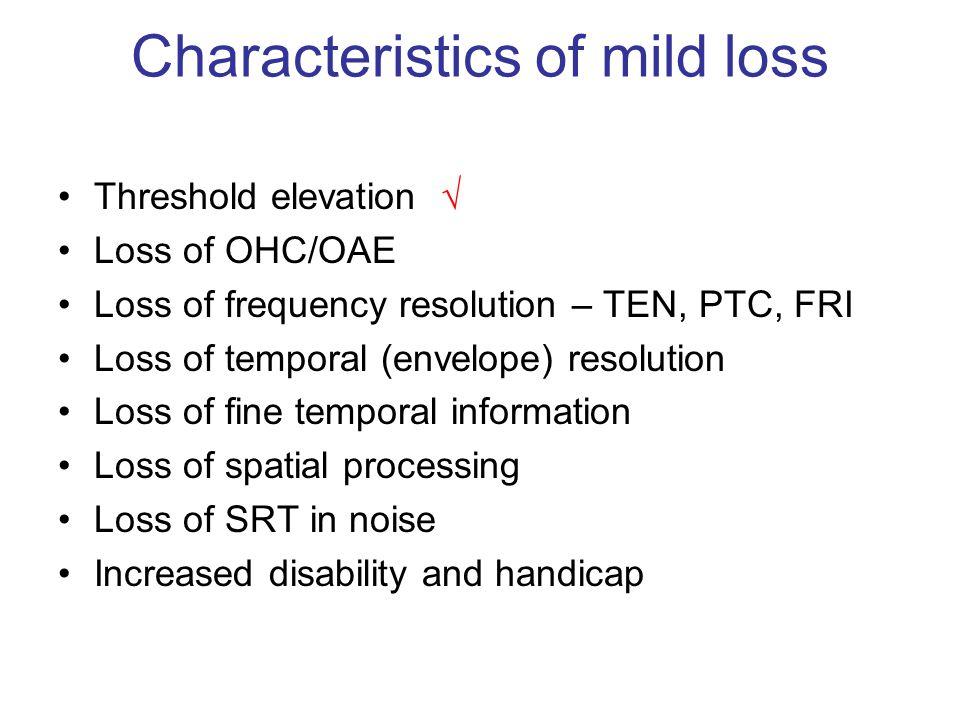 Characteristics of mild loss