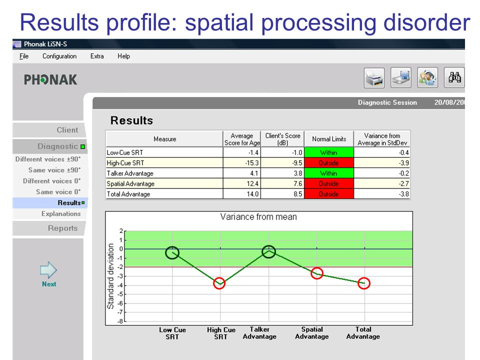 Results profile: spatial processing disorder