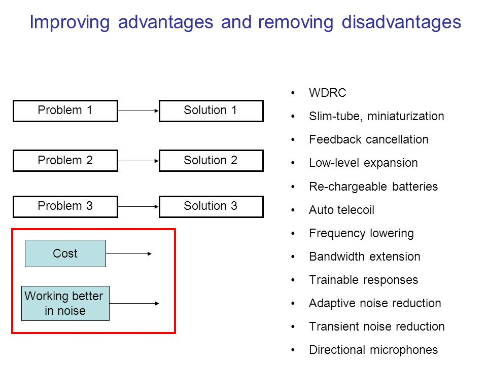 Improving advantages and removing disadvantages