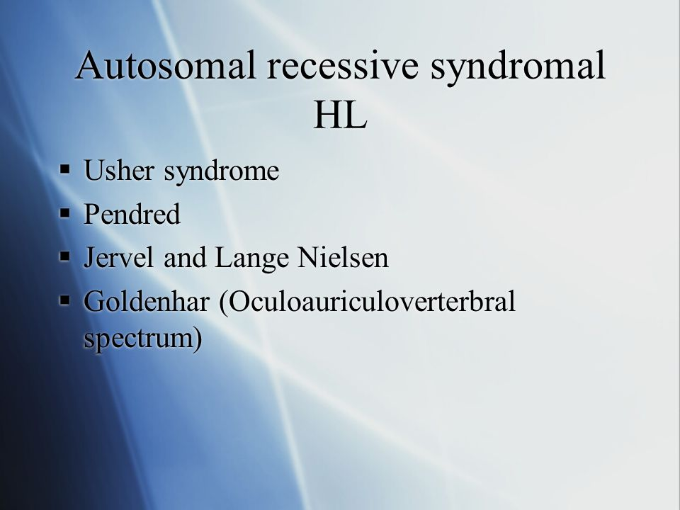 Autosomal recessive syndromal HL