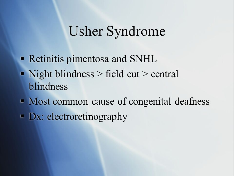 Usher Syndrome Retinitis pimentosa and SNHL