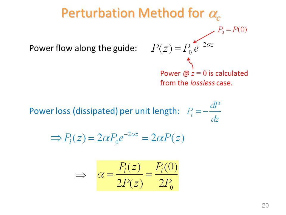Perturbation Method for c