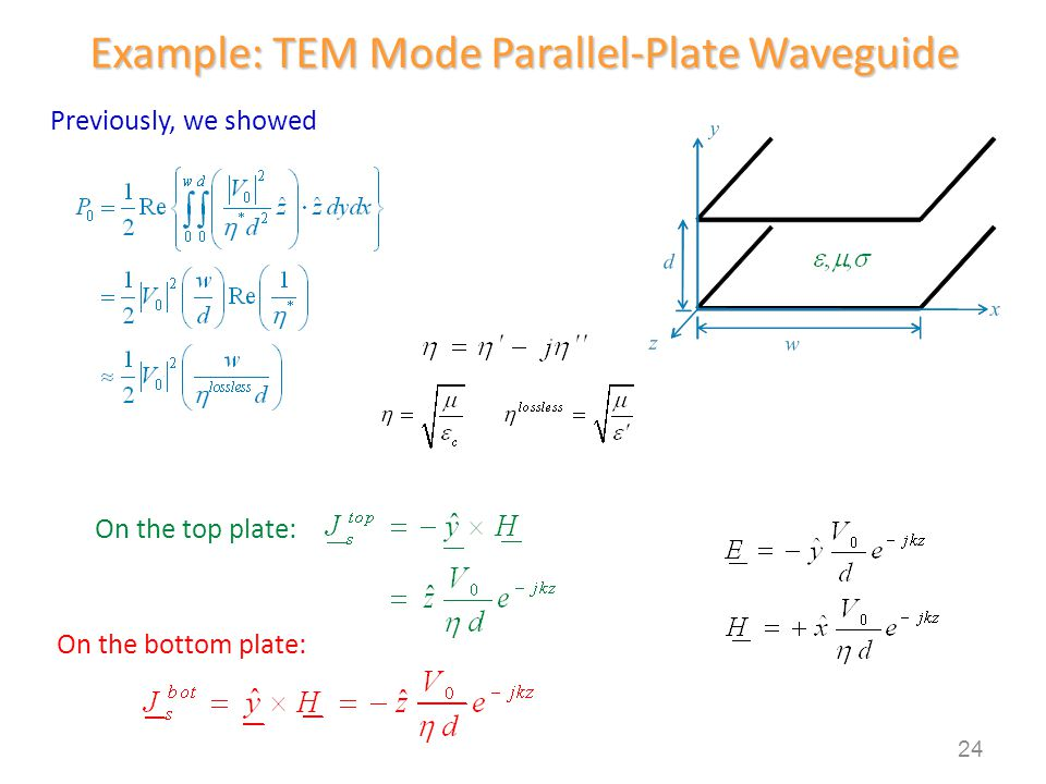 Example: TEM Mode Parallel-Plate Waveguide