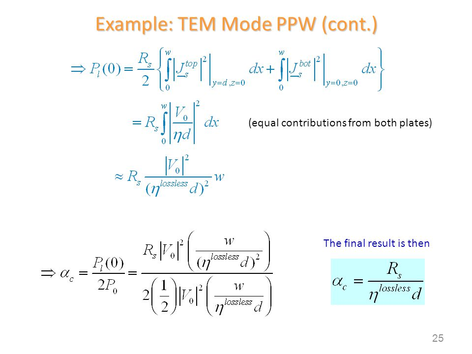 Example: TEM Mode PPW (cont.)