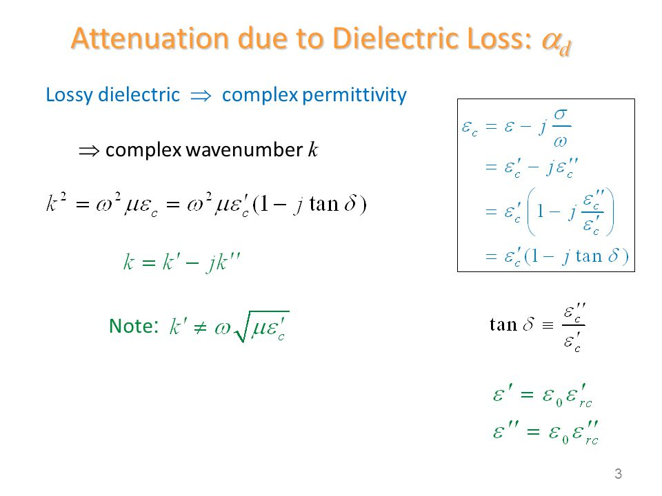 Attenuation due to Dielectric Loss: d