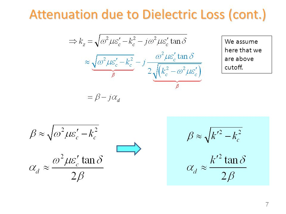 Attenuation due to Dielectric Loss (cont.)