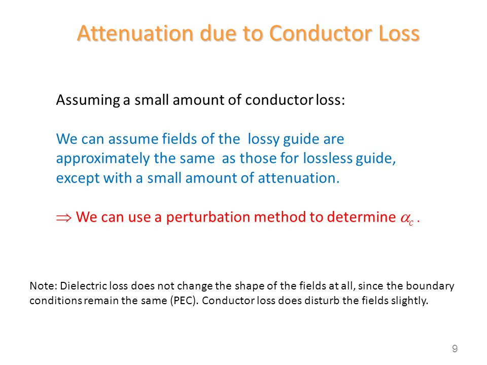 Attenuation due to Conductor Loss