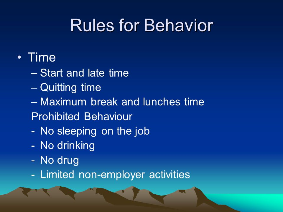 Rules for Behavior Time Start and late time Quitting time