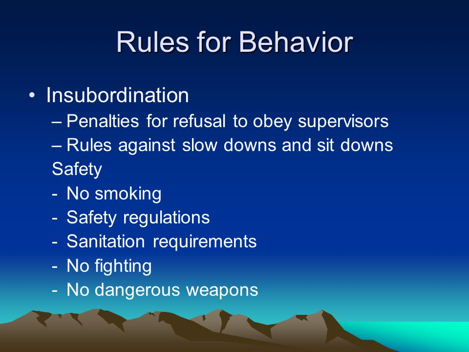 Rules for Behavior Insubordination