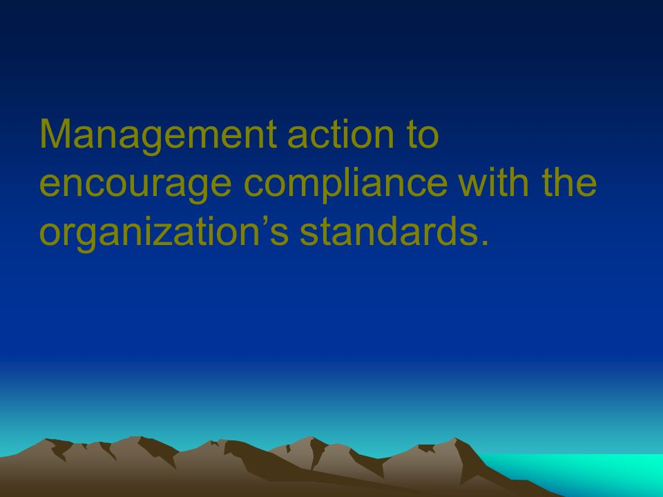 Management action to encourage compliance with the organization's standards.