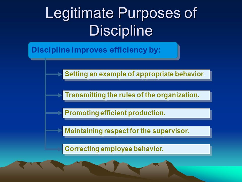 Legitimate Purposes of Discipline