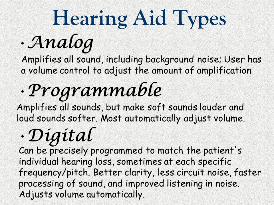 Hearing Aid Types Analog Programmable Digital