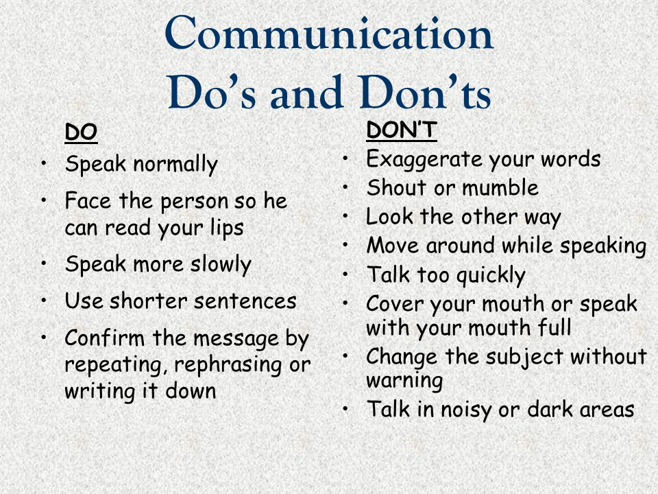 Communication Do's and Don'ts