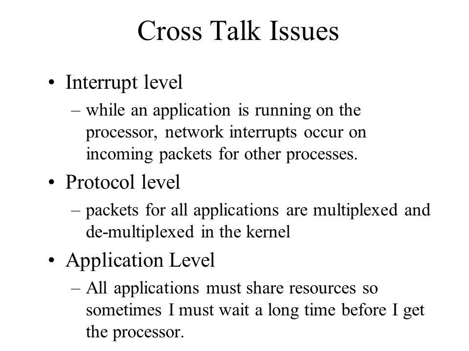 Cross Talk Issues Interrupt level Protocol level Application Level