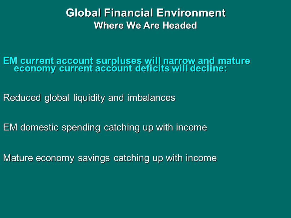 Global Financial Environment Where We Are Headed