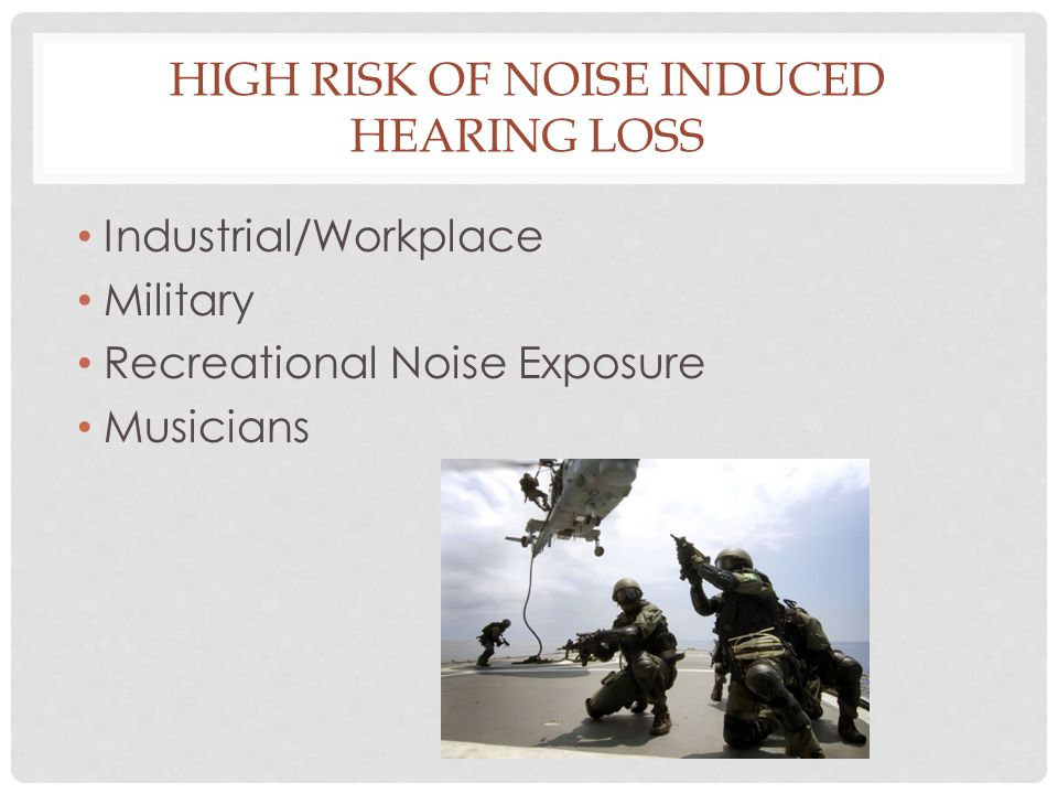 High Risk of Noise Induced Hearing Loss