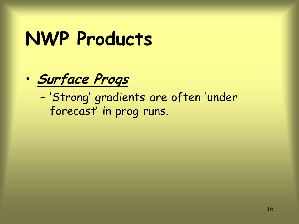 NWP Products Surface Progs