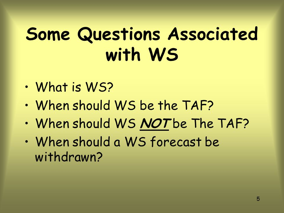 Some Questions Associated with WS